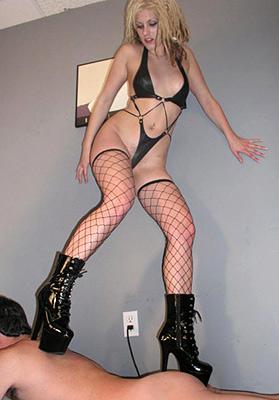 Mistress trampling femdom slave